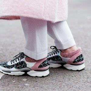 Chanel Runway Pink Tweed Suede Sneakers Trainers